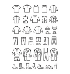 Mens clothing male fashion line icons set vector