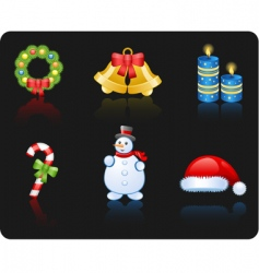 Christmas black background icon set vector image