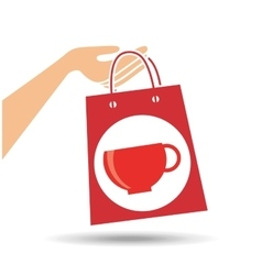 Hand holds bag gift cup coffee design vector
