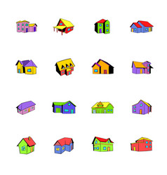 House icons set cartoon vector