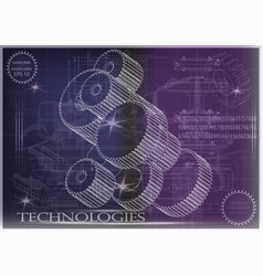 Machine-building drawings on a purple background vector