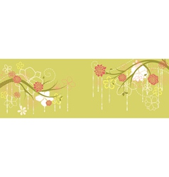 Panorama with spring branches and flowers vector image
