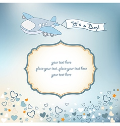 Baby boy announcement card with airplane vector