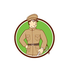 World war one british officer circle cartoon vector