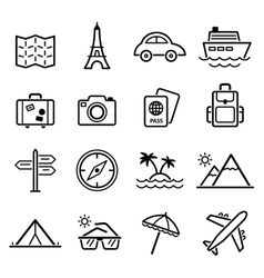 Travel symbols and tourism signs vector
