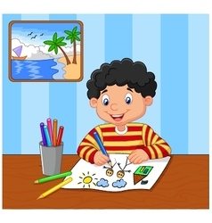 Happy boy writing on a book vector