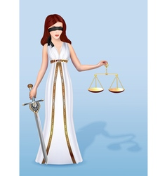 Woman femida goddess of justice with scales and s vector