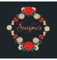Floral frame red roses summer time vector