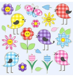 Cute birds and flowers vector image