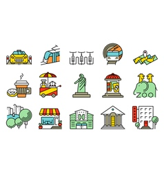 locations and city icons set vector image