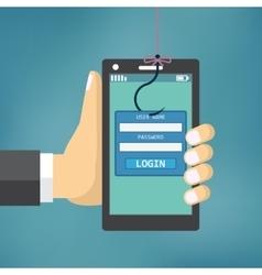 Data Phishing with fishing hook vector image