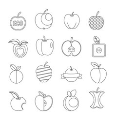 Apple icons set design logo outline style vector