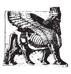 Assyrian sculpture is an assyrian winged bull vector