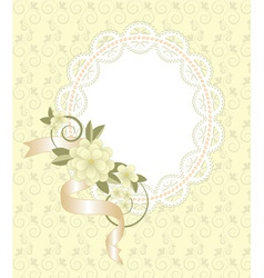 background with lace frame and flowers vector image vector image