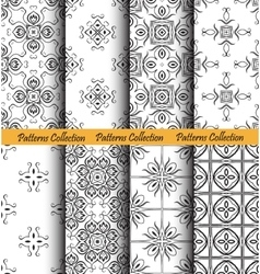Backgrounds floral patterns set vector