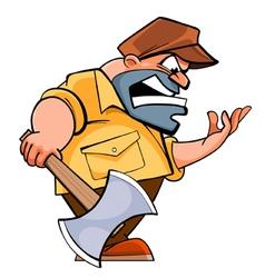 Cartoon angry man lumberjack with an ax vector