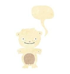 cartoon happy little polar bear with speech bubble vector image vector image