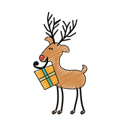 color crayon stripe cartoon of funny reindeer with vector image