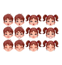 Different expressions of boy and girl vector image