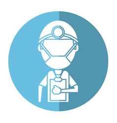 doctor professional surgery mask hat clipboard vector image