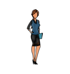 Drawing character woman business folder document vector