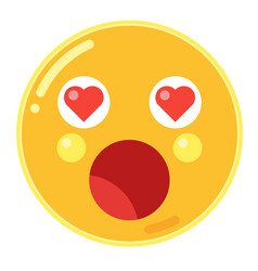 Emoji of astonishment with love heart eyes in vector