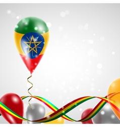 Flag of ethiopia on balloon vector