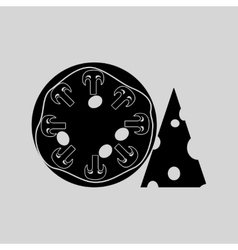 Flat in black and white pizza with cheese vector