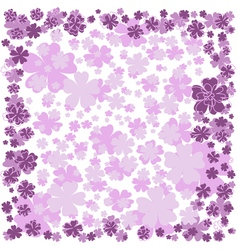 Floral frame with pink and purple flowers on white vector
