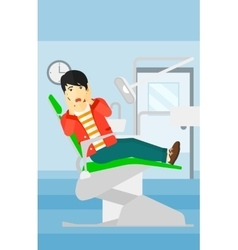 Frightened patient in dental chair vector image