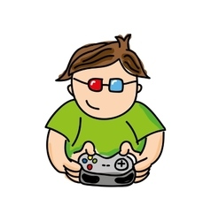 gamer playin video game isolated icon design vector image