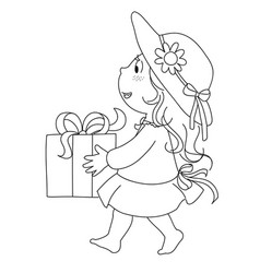 girl with gift vector image vector image