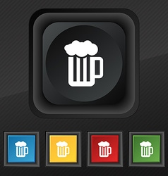 Glass of beer with foam icon symbol set of five vector