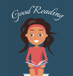 good reading poster with brunette young girl vector image