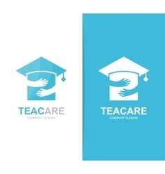 graduation hat and hands logo combination vector image