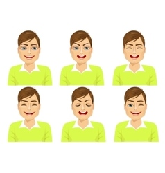 isolated set of male avatar expressions vector image