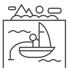 lake fishing on boat line icon sign vector image vector image