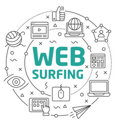 Line flat circle web surfing vector