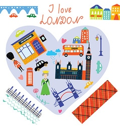 London love card with funny landmarks vector image vector image