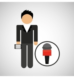 man smartphone news microphone design vector image