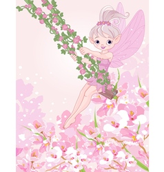 Pixy fairy on a swing vector