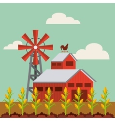 Red barn and farm landscape vector