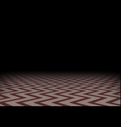 Red zig-zag floor in the darkness horizontal vector