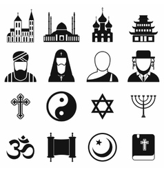 Religion simple icons set vector