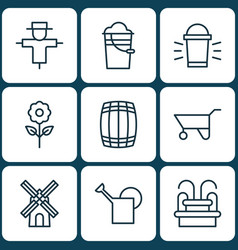 Set of 9 plant icons includes hang lamp bucket vector
