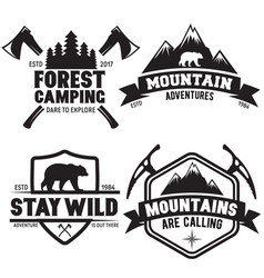 set of outdoor wild life related labels badges vector image vector image