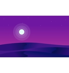 Silhouette of desert and full moon vector