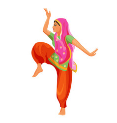 Solo dance performed by girl in silk shirt and vector