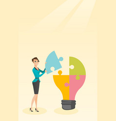 Student with idea lightbulb vector