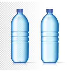 Transparent plastic bottles with mineral water vector